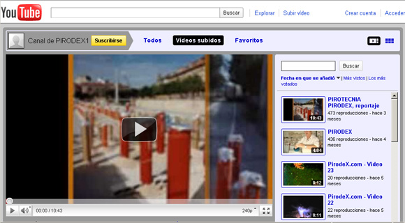 Canal Pirodex en YouTube